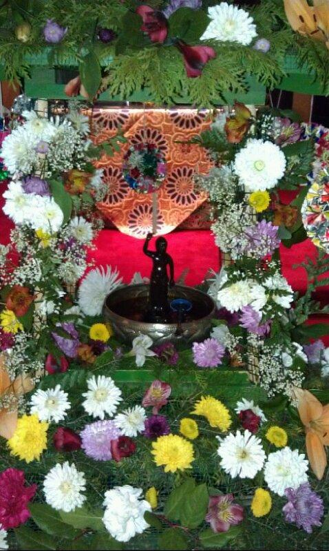 The Hanamido is made of flowers to symbolize Lumbini Garden, where Buddha was born