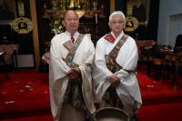 Rev Ron Miyamura (Midwest Buddhist Temple) and Rev Earl  Ikeda (NYBC) at 80th Memorial service